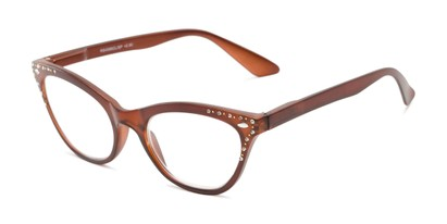 Angle of The Bellamy in Brown, Women's Cat Eye Reading Glasses