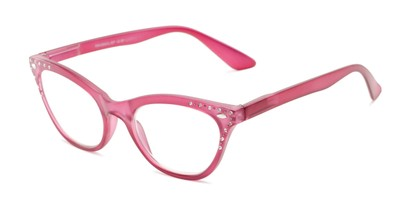Angle of The Bellamy in Berry Pink, Women's Cat Eye Reading Glasses
