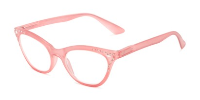 Angle of The Bellamy in Light Pink, Women's Cat Eye Reading Glasses