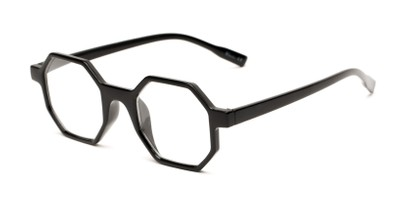 Angle of The Berkshire in Black, Women's and Men's Square Reading Glasses
