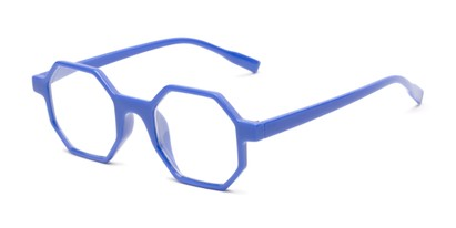 Angle of The Berkshire in Blue, Women's and Men's Square Reading Glasses