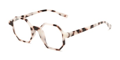 Angle of The Berkshire in Tan Tortoise, Women's and Men's Square Reading Glasses