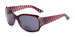 Angle of The Bernice Bifocal Reading Sunglasses in Red with Smoke, Women's Square Reading Sunglasses