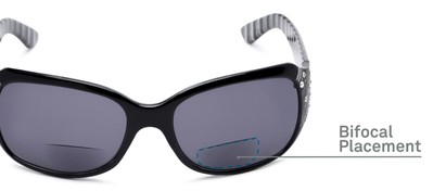 Detail of The Bernice Bifocal Reading Sunglasses in Black with Smoke