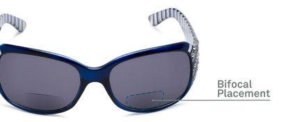 Detail of The Bernice Bifocal Reading Sunglasses in Dark Blue with Smoke