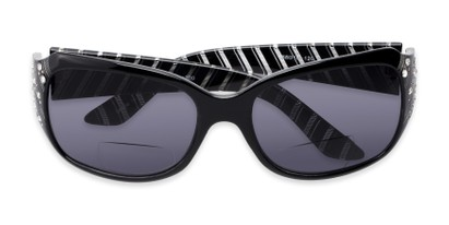 Folded of The Bernice Bifocal Reading Sunglasses in Black with Smoke
