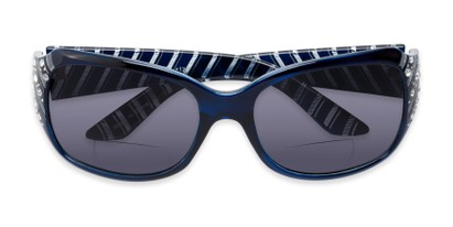 Folded of The Bernice Bifocal Reading Sunglasses in Blue with Smoke