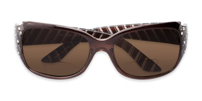 Folded of The Bernice Bifocal Reading Sunglasses in Brown with Amber