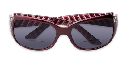 Folded of The Bernice Bifocal Reading Sunglasses in Red with Smoke