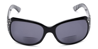 Front of The Bernice Bifocal Reading Sunglasses in Black with Smoke