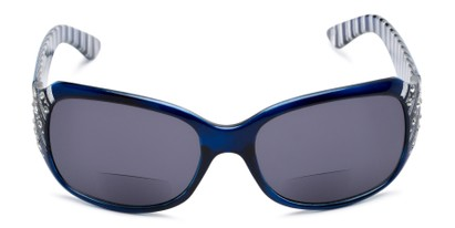 Front of The Bernice Bifocal Reading Sunglasses in Blue with Smoke