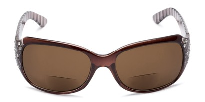 Front of The Bernice Bifocal Reading Sunglasses in Brown with Amber