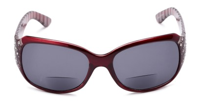 Front of The Bernice Bifocal Reading Sunglasses in Red with Smoke