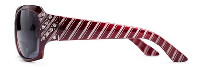 Side of The Bernice Bifocal Reading Sunglasses in Red with Smoke