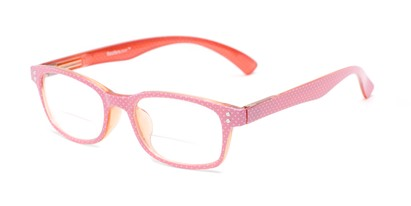 Angle of The Betsy Bifocal in Pink Dot with Orange, Women's Rectangle Reading Glasses
