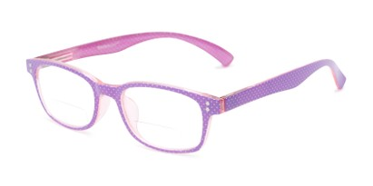 Angle of The Betsy Bifocal in Purple Dot with Pink, Women's Rectangle Reading Glasses