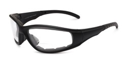 Angle of Clear Bifocal EVA Safety Goggles  in Black Frame with Clear Lenses, Women's and Men's Sport & Wrap-Around Reading Glasses