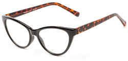 Angle of The Birdie in Black and Tortoise, Women's Cat Eye Reading Glasses