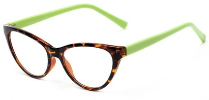 Angle of The Birdie in Tortoise and Lime Green, Women's Cat Eye Reading Glasses