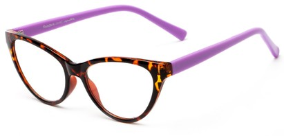 Angle of The Birdie in Tortoise and Lavender Purple, Women's Cat Eye Reading Glasses
