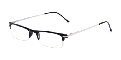 Angle of The Bishop in Black, Women's and Men's Browline Reading Glasses