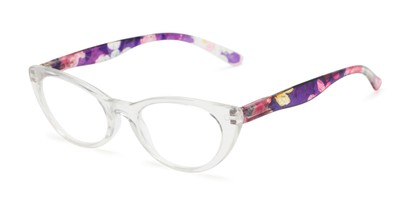 Angle of The Bixie  in Clear/Floral, Women's Cat Eye Reading Glasses