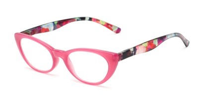 Angle of The Bixie  in Pink/Floral, Women's Cat Eye Reading Glasses