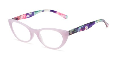 Angle of The Bixie  in Light Purple/Floral, Women's Cat Eye Reading Glasses