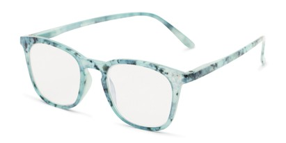 Angle of The Blaire Computer Reader in Blue Marble, Women's and Men's Retro Square Reading Glasses