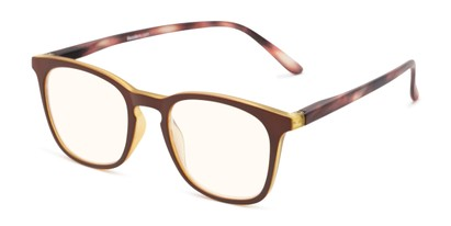 Angle of The Blaire Computer Reader in Brown/Tortoise with Yellow, Women's and Men's Retro Square Reading Glasses