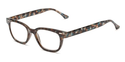 Angle of The Blanche in Blue Tortoise, Women's Retro Square Reading Glasses