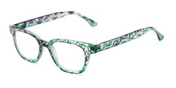 Angle of The Blanche in Green Patterned, Women's and Men's Retro Square Reading Glasses