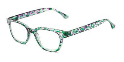 Angle of The Blanche in Green Patterned, Women's Retro Square Reading Glasses