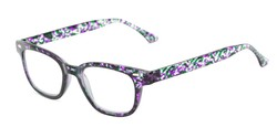 Angle of The Blanche in Purple Patterned, Women's and Men's Retro Square Reading Glasses