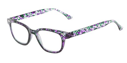 Angle of The Blanche in Purple Patterned, Women's Retro Square Reading Glasses