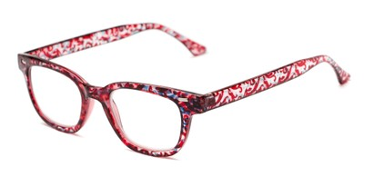 Angle of The Blanche in Red Patterned, Women's and Men's Retro Square Reading Glasses