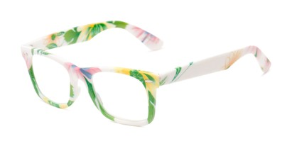 Angle of The Blossom in White/Green Floral, Women's Retro Square Reading Glasses