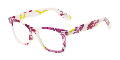 Angle of The Blossom in White/Purple Floral, Women's Retro Square Reading Glasses