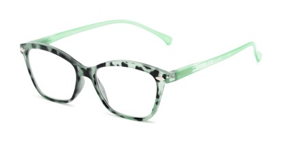 Angle of The Blush in Green, Women's Cat Eye Reading Glasses