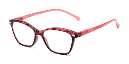 Angle of The Blush in Red, Women's Cat Eye Reading Glasses