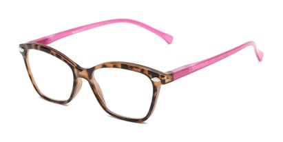 Angle of The Blush in Tortoise/Pink, Women's Cat Eye Reading Glasses