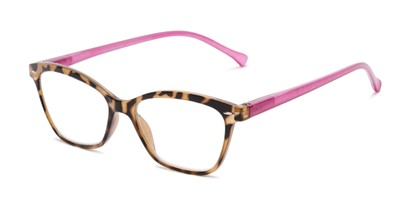 Angle of The Blush in Yellow/Pink, Women's Cat Eye Reading Glasses