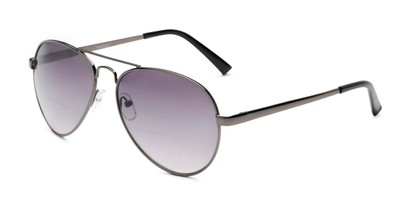 Angle of The Bond Bifocal Reading Sunglasses in Grey with Smoke, Women's and Men's Aviator Reading Sunglasses