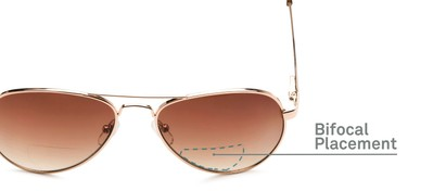 Detail of The Bond Bifocal Reading Sunglasses in Gold with Amber