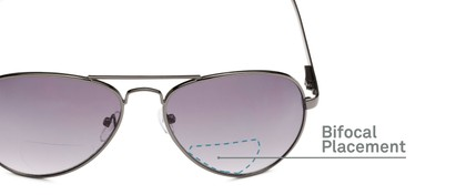 Detail of The Bond Bifocal Reading Sunglasses in Grey with Smoke