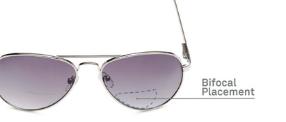 Detail of The Bond Bifocal Reading Sunglasses in Silver with Smoke