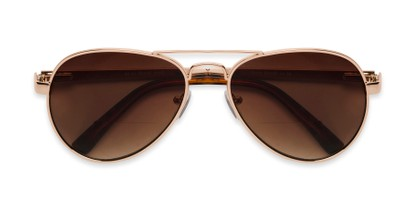 Folded of The Bond Bifocal Reading Sunglasses in Gold with Amber
