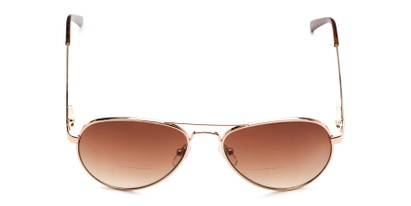 Front of The Bond Bifocal Reading Sunglasses in Gold with Amber