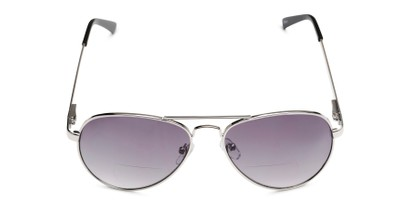 Front of The Bond Bifocal Reading Sunglasses in Silver with Smoke