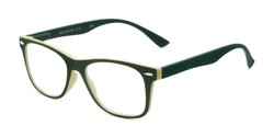 Angle of The Booker in Green/Olive, Women's and Men's Retro Square Reading Glasses